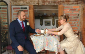 bride and groom tea