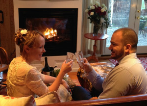 fireplace bride and groom