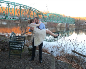 winter river elopement