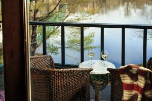 wine glasses on the river balcony, lodging in New Hope PA