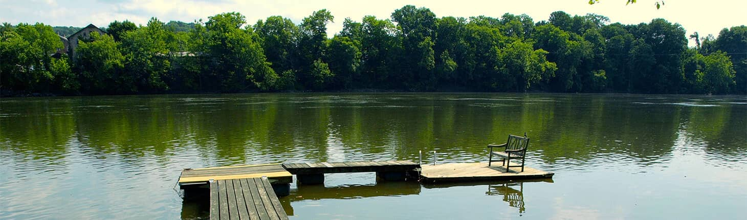 Dock in the River at Bridgeton House in Bucks County PA