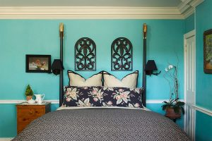 Beautiful teal walls and comfy featherbed at Bridgeton House
