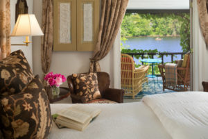 view of boat on river from Deluxe Room 4 at Bucks County Area BnB