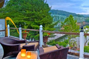 Penthouse terrace at sunset - vacation near New Hope, PA