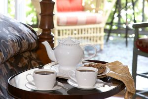 closeup of tea service - Bucks County vacation destination