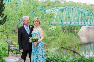Bucks County elopement couple with river views