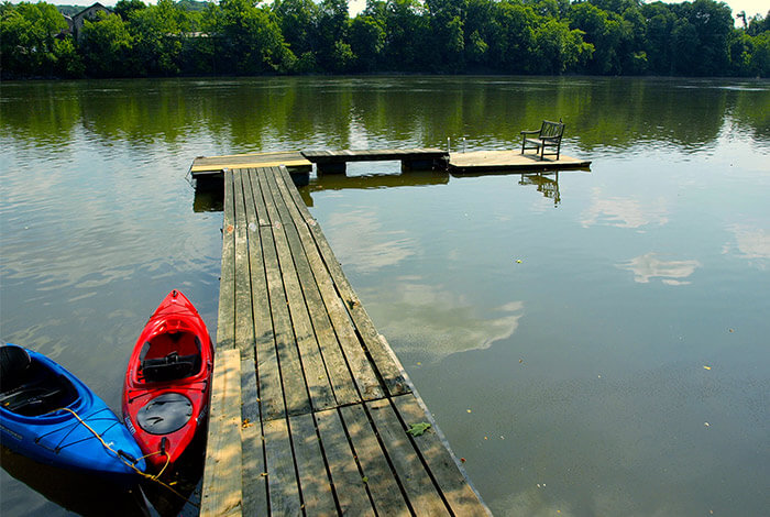 Bucks County Getaway - dock with kayaks at Bridgeton House on the Delaware, New Hope, PA