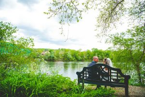 Delaware River Wedding - couple on bench