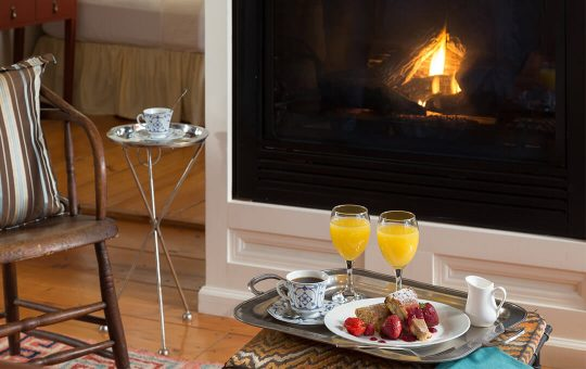 Breakfast in bed, fireside at New Hope, PA luxury inn