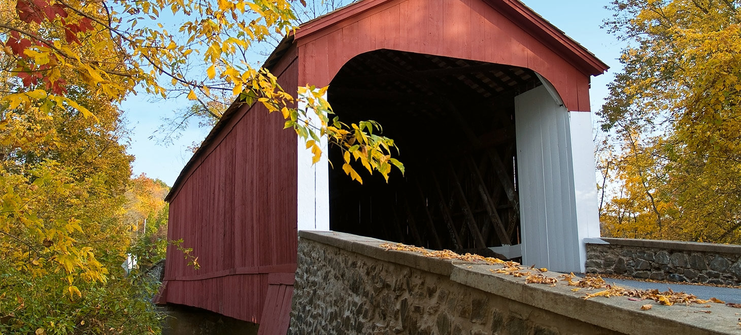 Bucks County Covered Bridge with Fall colored trees