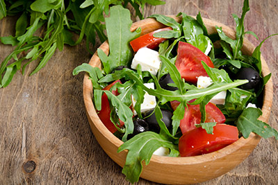 Fresh Salad with Tomatoes, Olives & Cheese