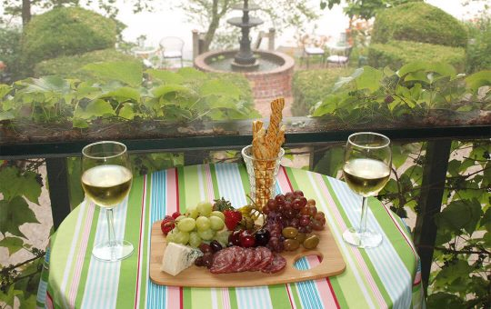 Cheese Tray served on river view porch at New Hope area inn