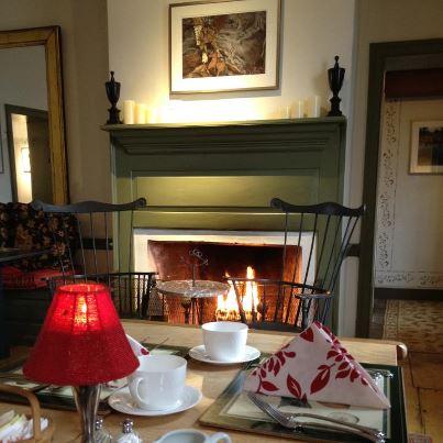 Breakfast set-up, fireside