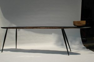 hand carved bench and bowl by Charles Briggs