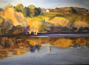 Oil painting of a countryside setting from River's Edge Gallery