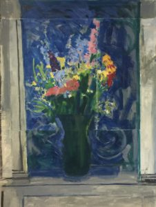 Oil painting of a green vase with mixed flowers