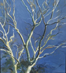 Oil painting of a leaf bare tree top