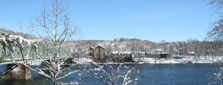 Snowy winter river view from award winning inn near New Hope, PA