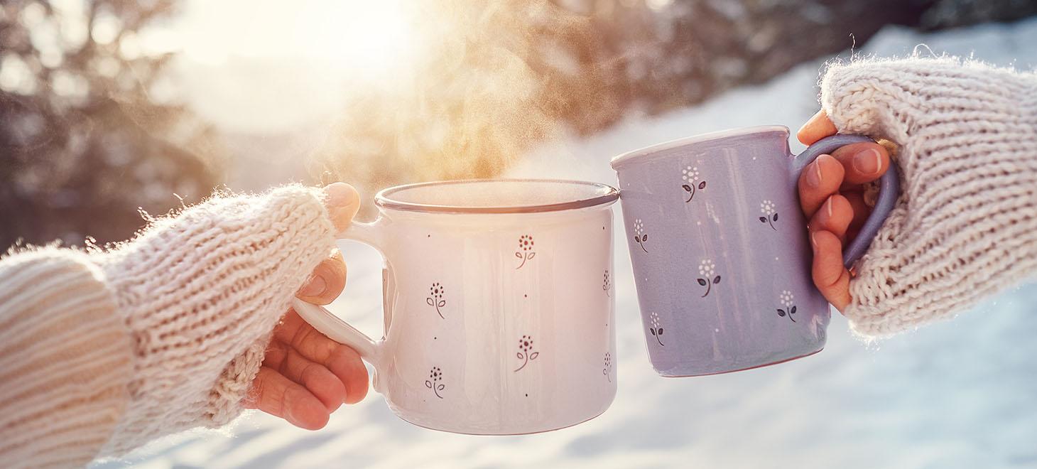Clicking coffee mugs - gift certficates to Bucks County B&B