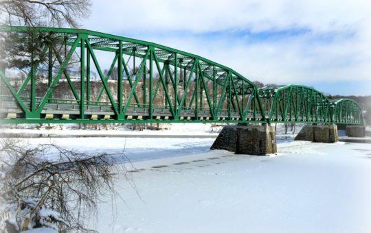 Frozen river under the Upper Black Eddy PA -Milford, NJ bridge