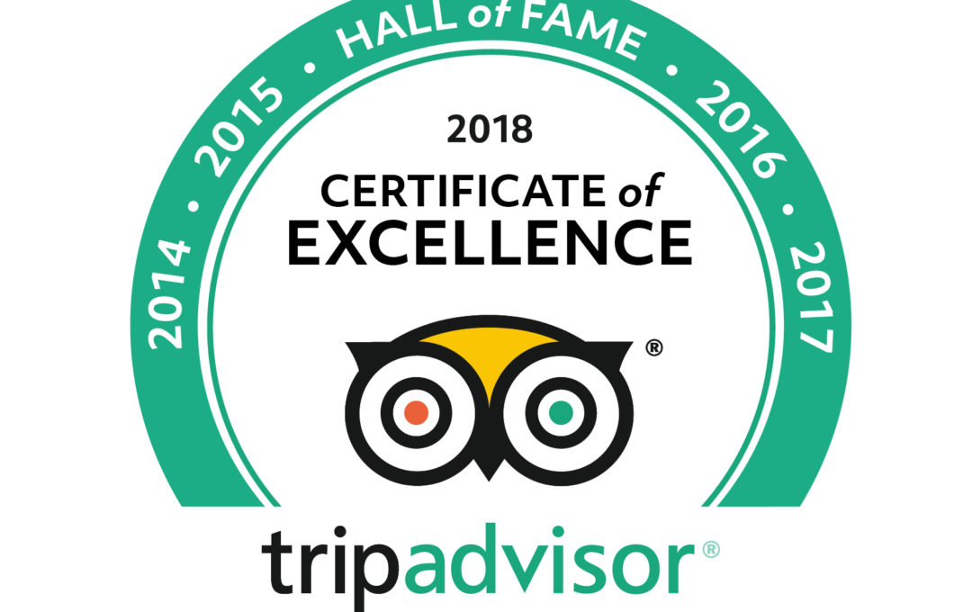 Trip Advisor 2018 hall of fame certificate of excellence logo