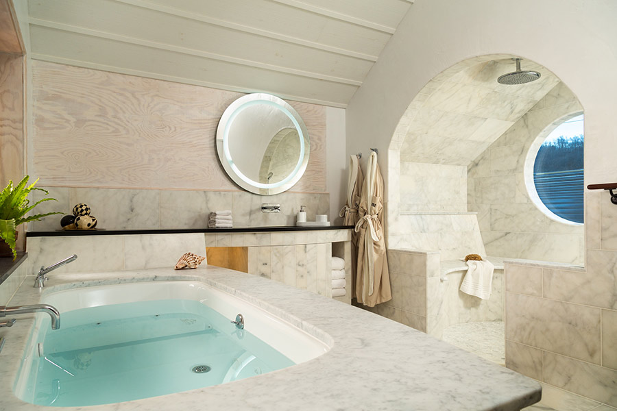 Enjoy a luxurious whirlpool tub at the Tree House during your weekend trip in PA