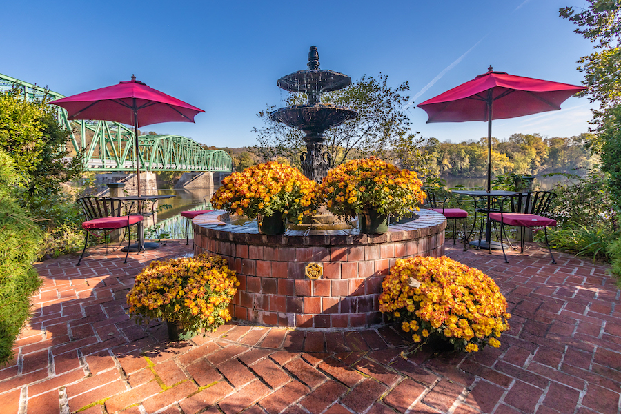Fall Flowers by the Fountain at Bridgeton House