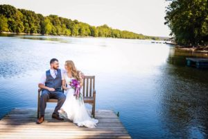 Bride and Groom on Dock Bench