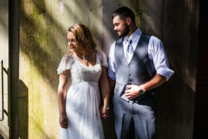 Wedding Couple by Barn Door