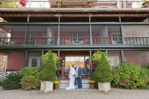 Wedding Couple on Back Steps at Bridgeton House