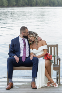 Elopement Couple on Dock Bench