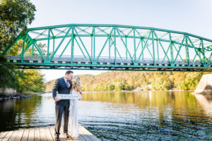 elopement couple on dock
