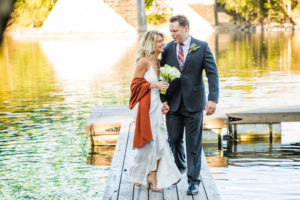 wedding couple dock walk