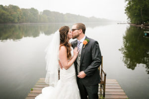 Wedding on Dock Kiss